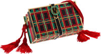 Judith Leiber Full Bead Green, Red & Black Crystal Books Minaudiere Bag Very Good to Excellent Condition