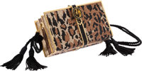 Judith Leiber Full Bead Brown, Gold & Black Crystal Books Minaudiere Evening Bag Very Good to Excellent Conditi