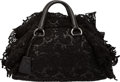 "Luxury Accessories:Bags, Prada Black Leather & Lace Tote Bag. ExcellentCondition. 14"" Width x 8"" Height x 6"" Depth. ..."