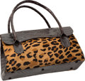 "Luxury Accessories:Bags, Nancy Gonzalez Leopard Ponyhair & Matte Brown Crocodile Tote Bag. Very Good Condition. 15"" Width x 8"" Height x 6"" Depth..."