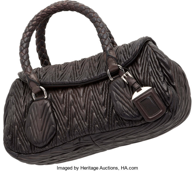 485837840dcf Prada Brown Lambskin Leather Tote Bag. Good to Very Good Condition ...