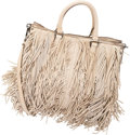 "Luxury Accessories:Bags, Prada Beige Lambskin Leather Fringe Tote Bag. ExcellentCondition. 11.5"" Width x 10"" Height x 5"" Depth. ..."