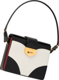 "Luxury Accessories:Bags, Prada Black, White & Red Saffiano Leather Shoulder Bag. VeryGood to Excellent Condition. 8"" Width x 7"" Height x 2.5""..."