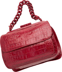 "Nancy Gonzalez Matte Red Crocodile Top Handle Bag Very Good to Excellent Condition 9.5"" Width x 7"" Height x..."