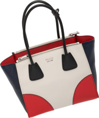 """Prada White, Red & Navy Blue Leather Tote Bag Very Good to Excellent Condition 10.5"""" Width x 9"""" H"""