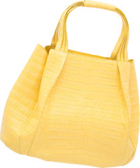 "Nancy Gonzalez Matte Yellow Crocodile Tote Bag Very Good to Excellent Condition 13"" Width x 11"" H"