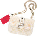 """Luxury Accessories:Bags, Valentino White Leather & Glass Pearl Rockstud Lock Flap Bag. Very Good to Excellent Condition. 8"""" Width x 6.5"""" Height x 2..."""