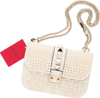 """Valentino White Leather & Glass Pearl Rockstud Lock Flap Bag Very Good to Excellent Condition 8"""" Width x 6.5"""