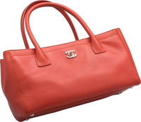 """Chanel Orange Leather Cerf Tote Bag Excellent Condition 12"""" Width x 7"""" Height x 5"""" Depth"""