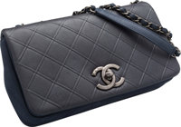 """Chanel Navy Blue Leather Flap Bag Excellent Condition 10"""" Width x 6"""" Height x 2"""" Depth"""