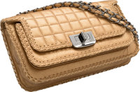 """Chanel Metallic Gold Distressed Square Quilted Lambskin Leather Flap Bag Excellent Condition 10"""" Width x 6""""..."""
