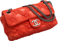 "Chanel Red Woven Lambskin Leather Flap Bag Very Good Condition 9.5"" Width x 6"" Height x 2.5"" Dept"