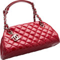 "Luxury Accessories:Bags, Chanel Red Quilted Patent Leather Timeless Bag. ExcellentCondition. 10"" Width x 5"" Height x 4.5"" Depth. ..."