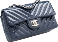 "Chanel Navy Blue Chevron Quilted Patent Leather Mini Flap Bag Excellent to Pristine Condition 8"" Width x 4""..."