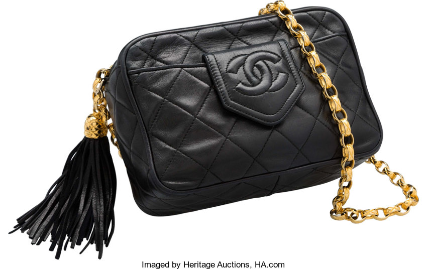 f8bdc3fde5b975 Luxury Accessories:Bags, Chanel Black Quilted Lambskin Leather Camera Bag.  Very GoodCondition.