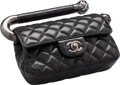 """Luxury Accessories:Bags, Chanel Black Quilted Caviar Leather Top Handle Bag. Excellent Condition. 7.5"""" Width x 5"""" Height x 2"""" Depth. ..."""
