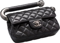 """Chanel Black Quilted Caviar Leather Top Handle Bag Excellent Condition 7.5"""" Width x 5"""" Height x 2"""" Depth..."""