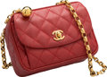 """Luxury Accessories:Bags, Chanel Red Quilted Caviar Leather Camera Bag. Very GoodCondition. 7.5"""" Width x 5"""" Height x 3"""" Depth. ..."""