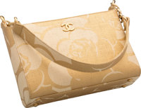 "Chanel Metallic Gold & Natural Raffia Shoulder Bag Excellent Condition 9"" Width x 6"" Height x 3"" Dept..."