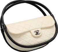 """Chanel White Quilted Lambskin Leather Small Hula Hoop Bag Good to Very Good Condition 11"""" Width x 6"""" Height..."""
