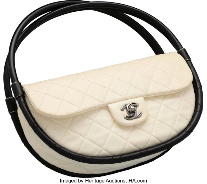 b10fa16a599b Goodto; Luxury Accessories:Bags, Chanel White Quilted Lambskin Leather  Small Hula Hoop Bag.