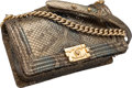 "Luxury Accessories:Bags, Chanel Metallic Green Python & Sequin Boy Bag. ExcellentCondition. 10"" Width x 6"" Height x 3.5"" Depth. ..."