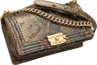 "Chanel Metallic Green Python & Sequin Boy Bag Excellent Condition 10"" Width x 6"" Height x 3.5"" Depth..."