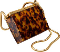 "Chanel Brown Tortoiseshell Pattern Resin Enamel Evening Bag Excellent Condition 5"" Width x 4"" Hei"