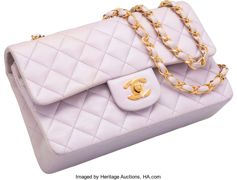 Chanel Purple Quilted Lambskin Leather Medium Double Flap Bag. Good ... 46f30ca6f1
