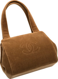 """Chanel Brown Velvet Tote Bag Very Good to Excellent Condition 8"""" Width x 7"""" Height x 3"""" Depth"""