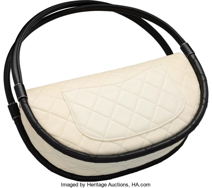 a3c5dcbf02fd Chanel White Quilted Lambskin Leather Small Hula Hoop Bag. Good to | Lot  #16036 | Heritage Auctions