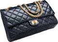 "Luxury Accessories:Bags, Chanel Navy Blue Quilted Distressed Patent Leather Jumbo Reissue Double Flap Bag. Excellent Condition. 11"" Width x 7"" Heig..."