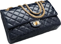 """Chanel Navy Blue Quilted Distressed Patent Leather Jumbo Reissue Double Flap Bag Excellent Condition 11"""" Wid"""