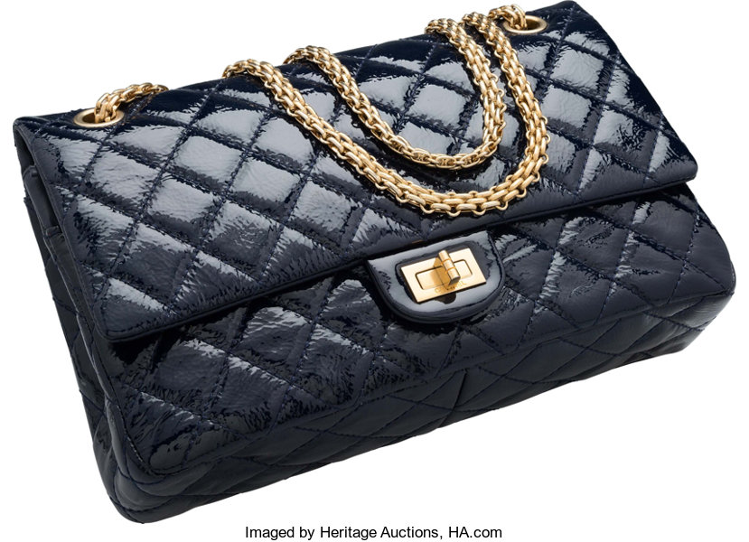 acd2c82359e0 Chanel Navy Blue Quilted Distressed Patent Leather Jumbo
