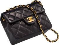 """Chanel Navy Blue Quilted Leather Mini Flap Bag Very Good to Excellent Condition 7"""" Width x 5"""" Height x 2.5&quo..."""