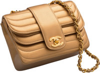 """Chanel Metallic Gold Lambskin Leather Flap Bag Very Good to Excellent Condition 7"""" Width x 5"""" Hei"""