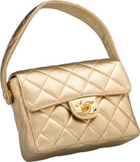 "Chanel Metallic Gold Quilted Lambskin Leather Flap Bag Excellent Condition 6.5"" Width x 5"" Height"