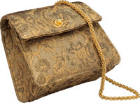 """Chanel Metallic Gold Jacquard Fabric Flap Bag Very Good to Excellent Condition 6.5"""" Width x 6"""" He"""