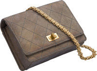 "Chanel Metallic Gold Quilted Suede Flap Bag Excellent Condition 6.5"" Width x 5"" Height x 2"" Depth"
