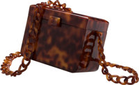 "Chanel Brown Tortoiseshell Pattern Resin Enamel Shoulder Bag Good to Very Good Condition 5.5"" Wid"