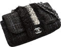 "Luxury Accessories:Bags, Chanel Black Tweed & Sequin Flap Bag. Excellent Condition. 9"" Width x 5.5"" Height x 2"" Depth. ..."