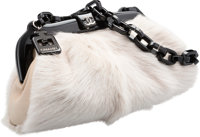 "Chanel White Fox Fur & Lambskin Leather Evening Bag Fair Condition 10.5"" Width x 5.5"" Height x 4"""