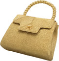 """Luxury Accessories:Bags, Chanel Metallic Gold Woven Fabric Top Handle Bag. Very Good toExcellent Condition. 8"""" Width x 6"""" Height x 2.5"""" Depth. ..."""