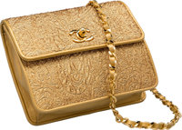 Chanel Metallic Gold Jacquard Fabric & Lambskin Leather Flap Bag Very Good to Excellent Condition