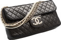 """Luxury Accessories:Bags, Chanel Black Quilted Lambskin Leather Flap Bag. Very Good to Excellent Condition. 10"""" Width x 6"""" Height x 2.5"""" Depth..."""