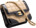 """Luxury Accessories:Bags, Chanel Beige Square Quilted Lambskin Leather & Black Patent Leather Square Flap Bag. Very Good Condition. 6"""" Width x 5"""" He..."""