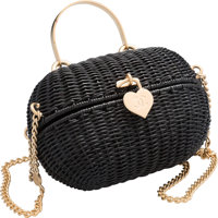 "Chanel Black Wicker Heart Lock Evening Bag Excellent Condition 7"" Width x 5"" Height x 3.5"" Depth"