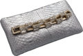 "Luxury Accessories:Bags, Chanel Metallic Silver Python Clutch Bag. Very Good to ExcellentCondition. 9"" Width x 4.5"" Height x 1"" Depth. ..."