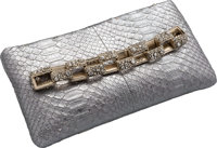 "Chanel Metallic Silver Python Clutch Bag Very Good to Excellent Condition 9"" Width x 4.5"" Height"