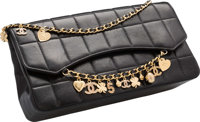"""Chanel Black Square Quilted Lucky Charms Evening Bag Very Good Condition 10.5"""" Width x 5.5"""" Height x 2.5""""..."""